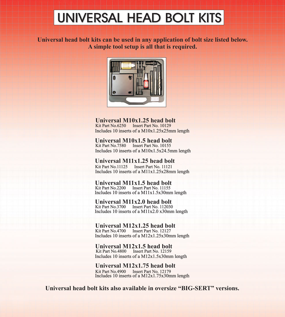 head bolts -engine thread repair kit sizes